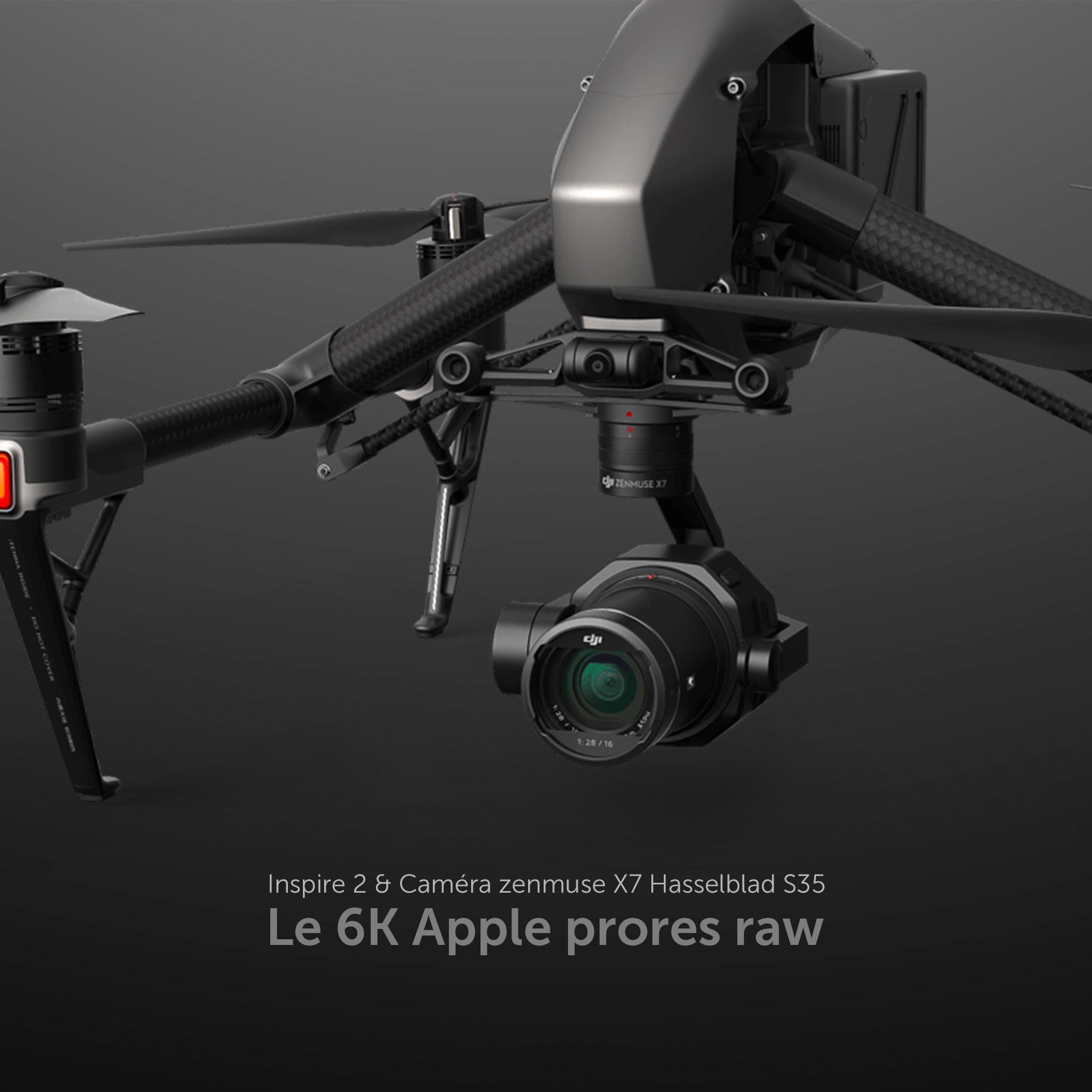 Config sans compromis, l'image de qualité cinéma en 6k Apple ProRes Raw, en simple ou double commande télépilote/cadreur - Drone + télépilote X1/x2