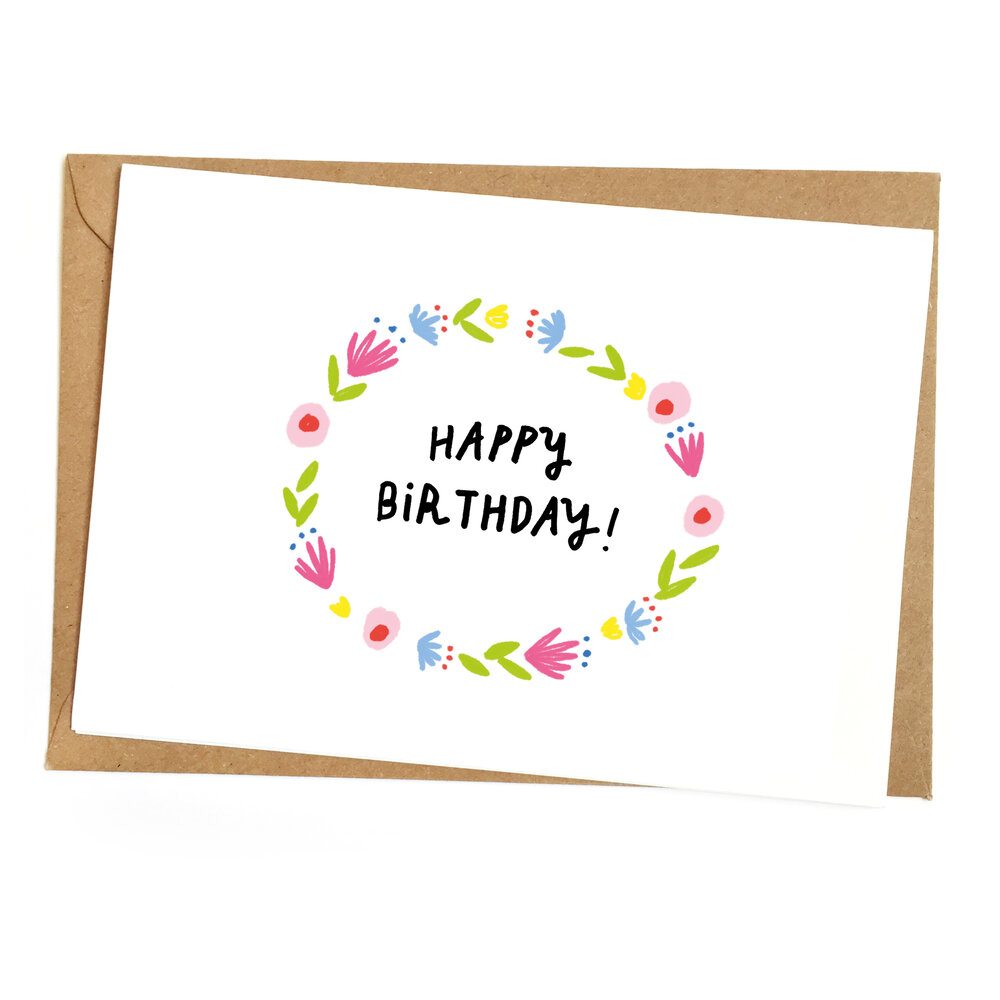 GREETING CARD // Floral Happy Birthday — Things Dre Makes