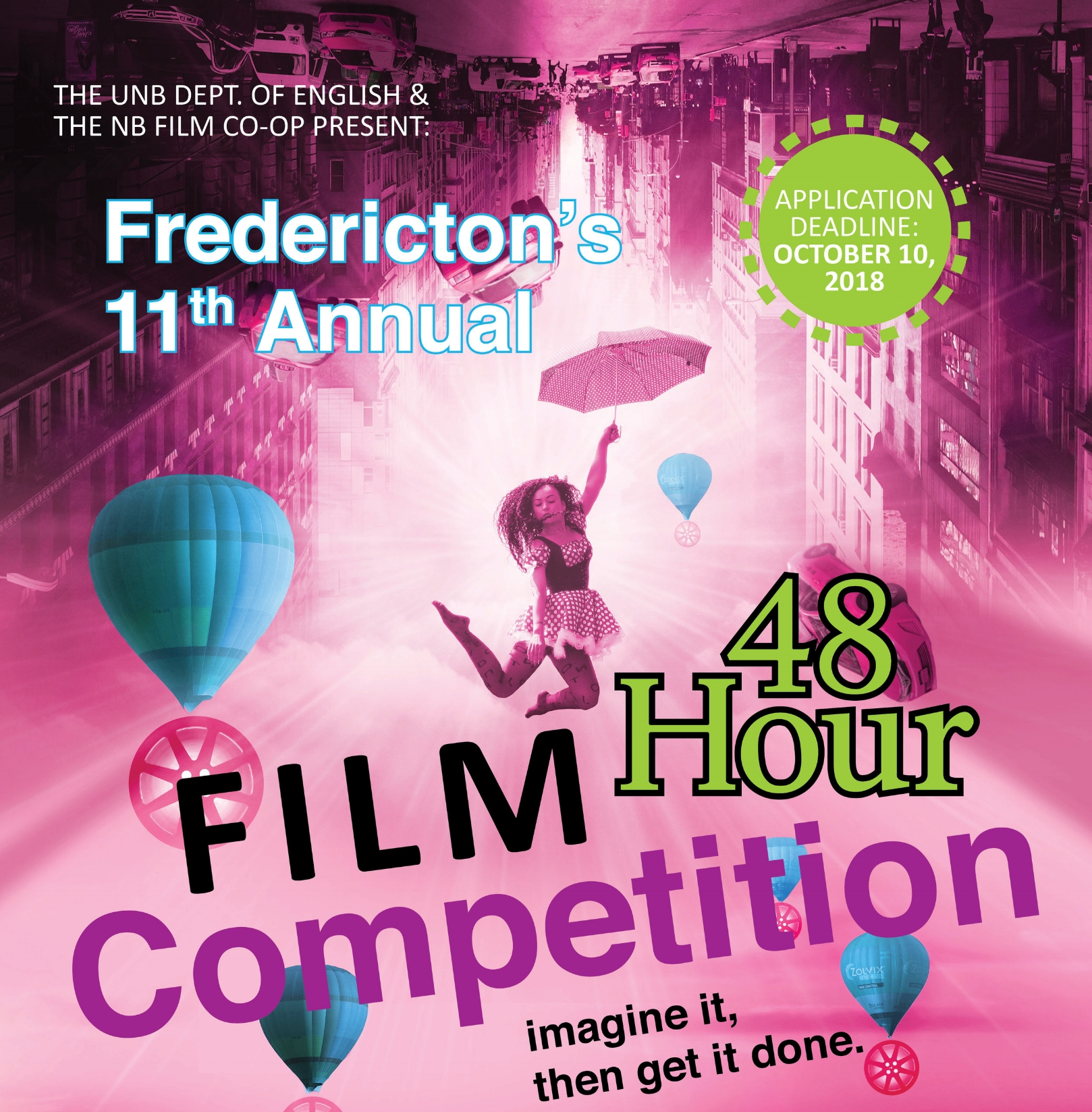 "48 Hour Film Competition - Fredericton's 48 Hour Film Competition challenges local filmmakers to write, shoot, and edit a short film in just 48 hours. In 2018, the competition enters its eleventh year of encouraging local filmmakers and film fans to ""imagine it, then get it done.""The English Department at UNB and the New Brunswick Film Co-op invite all participants from across New Brunswick to compete.The competition begins on a Friday at 5:00pm when the teams pick up their inspiration package of items that must be included in the film. They then have only 48 hours to deliver a finished short film. It is an intense exercise that pushes the filmmakers to their limits with often amazing results. The resulting short films (under 7-minute) have been from a wide variety of genres, including dark comedies, comedies, thrillers, and even a few musicals. In its first decade , the 48 Hour Film Competition spurred the creation of over 163 new short films, fostered collaborations, and provided a chance for new filmmakers to test themselves and find an audience. Several of the films have even gone on to be featured in North American film festivals.This year brings more fun, more competition, and more ways to make films fast. Come join in."