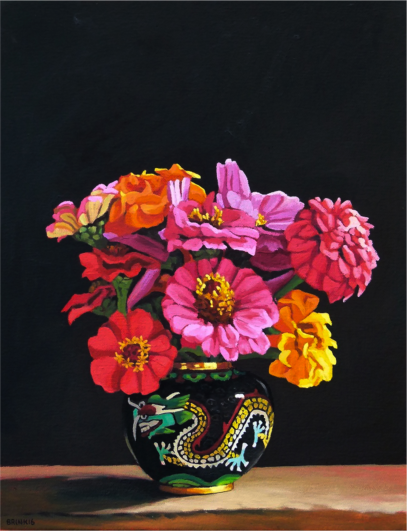Cosmos And Zinnias In Dragon Jar, 13 x 10 in, oil on canvas, 2016