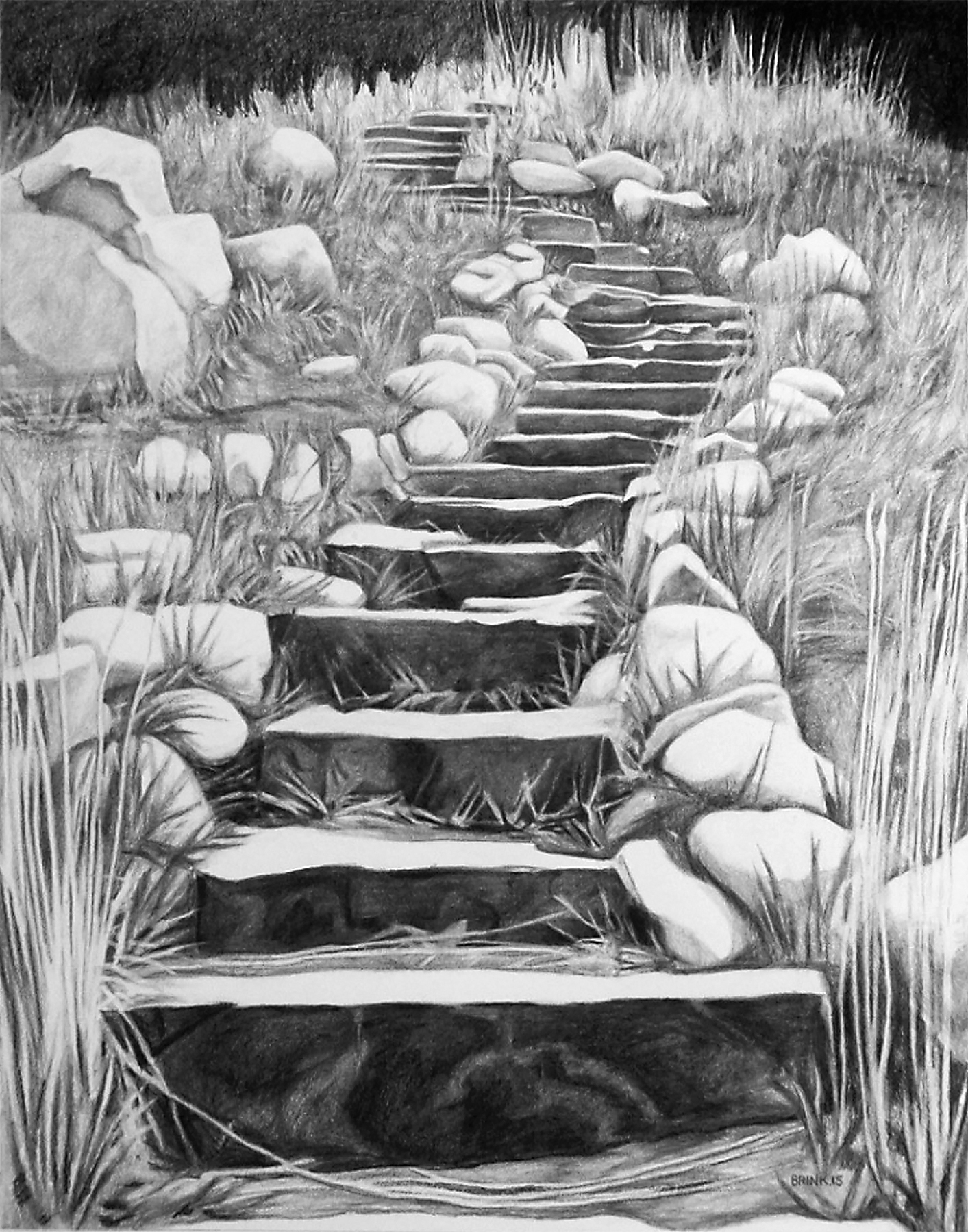 The Draw 3 - Toward Bear Canyon, 38 x 30 in, charcoal + conté on paper, 2015