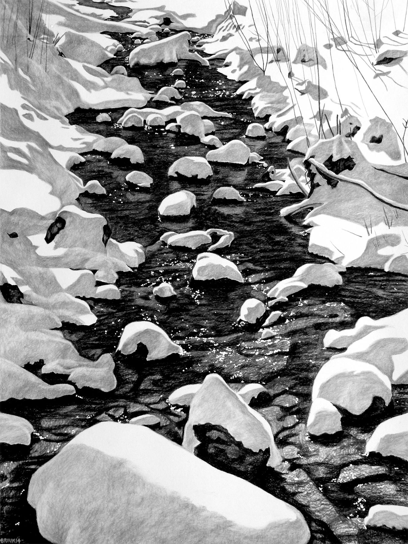 The Draw 2 - 150 Feet Below Zen, 44 x 33 in, charcoal, conté + gauche on paper, 2014