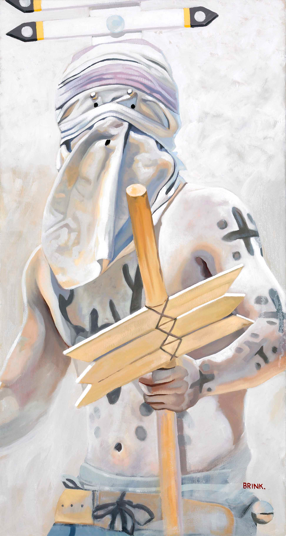 Gaan Clown Study l, 30 x 16 in oil on canvas, 2009