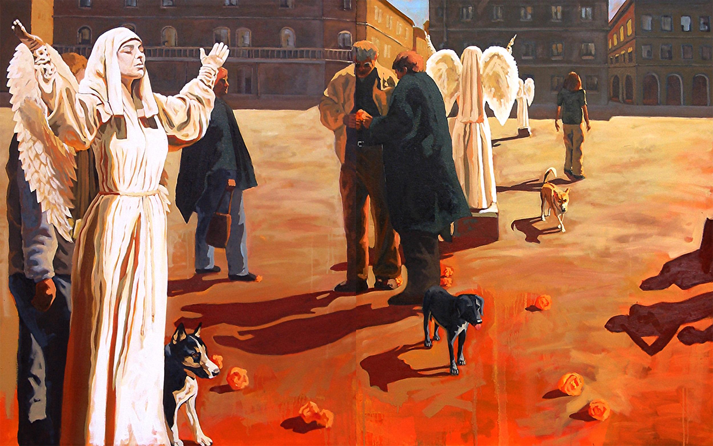 Piazza Degli Angeli, 50 x 80 in, oil on canvas, 2003