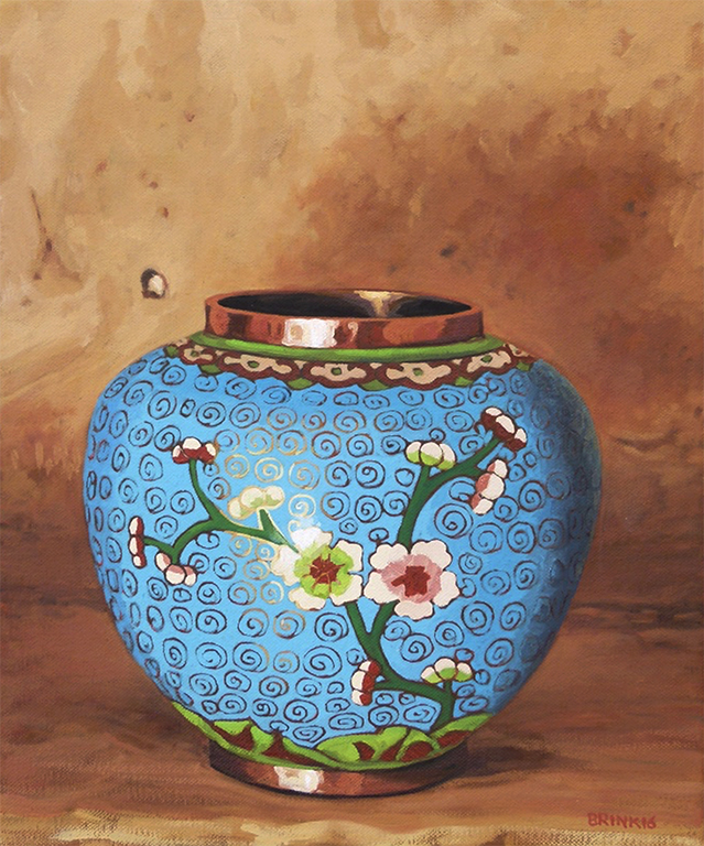 Turquoise Spice Jar With Blossoms, 12 x 10 in, oil on canvas, 2016
