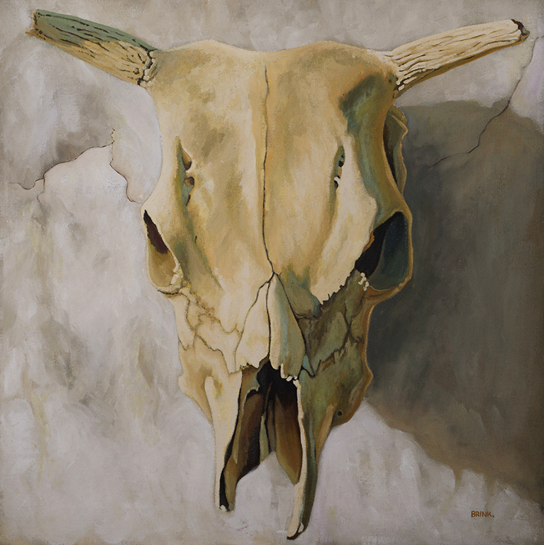 Skull On White, 20 x 20 in, oil on canvas, 2010