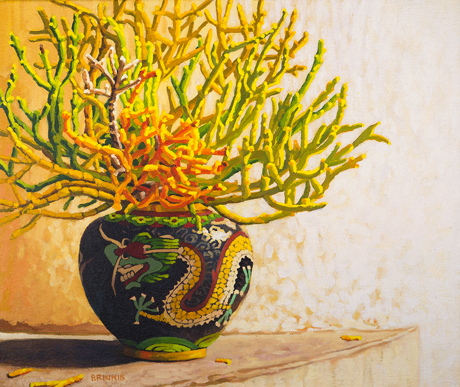 Mistletoe In Dragon Jar, 11 x 13 in, oil on canvas, 2018