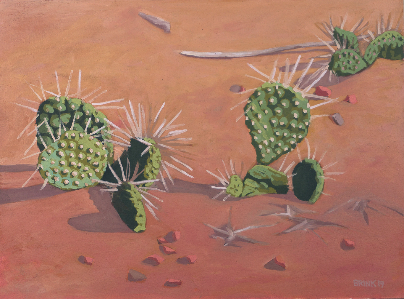 Prickly Pear study, 9 x 12 in, oil on paper, 2019