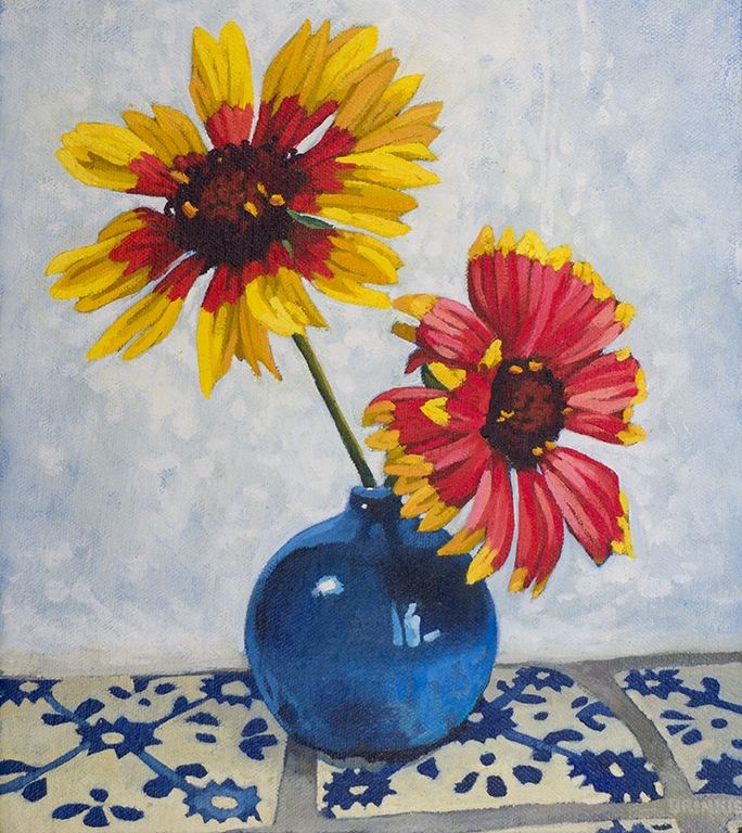 Blanket Flowers In Blue Vase, 9 x 8 in, oil on canvas, 2015