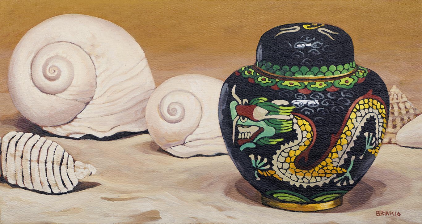 White Shells And Black Jar, 8 x 15 in, oil on canvas, 2016