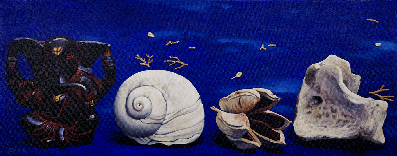 Still Life of Four On Blue, 8 x 20 in, oil on canvas, 2014