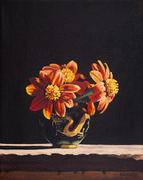 Mexican Sunflowers In The Afternoon, 10 x 8 in, oil on canvas, 2018