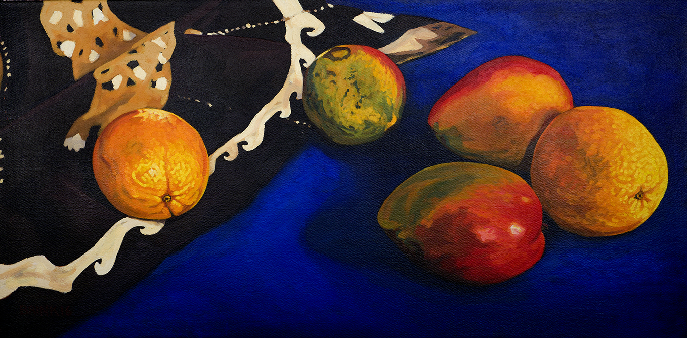 Oranges And Mangos On The Blue Table, 12 x 24 in, oil on canvas, 2016