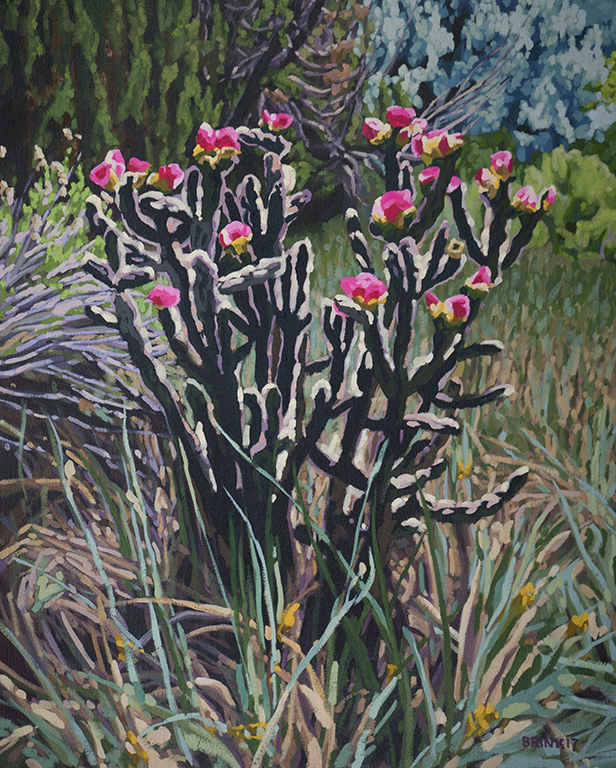 Cholla -  In Bloom, 20 x 16 in, oil on canvas, 2017