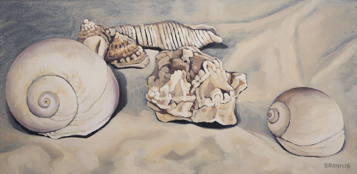 Still Life Of Seven Shells, 8 x 16 in, oil on canvas, 2016