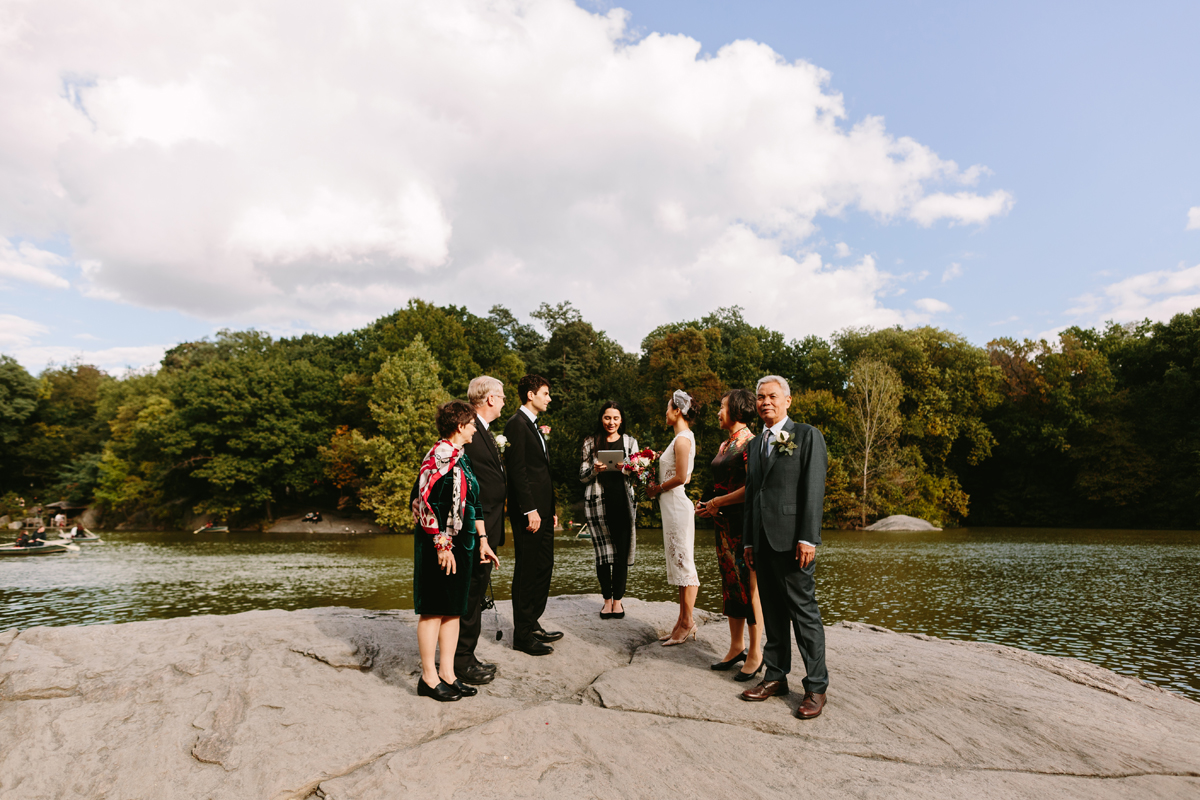 A ceremony in the middle of the lake. Photo by  Karen Obrist Photography .