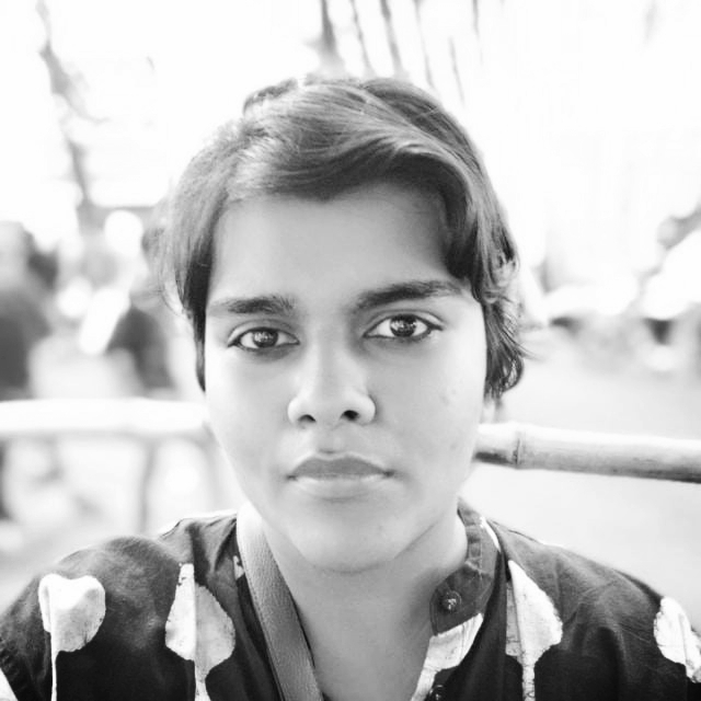 Upasana Agarwal - Project OfficerUpasana is a queer, non binary Feminist Activist. hey have worked with many organisations and collectives such as PeaceWorks (an organisation working with street children to reduce communal intolerance post Gujarat riots in 2002), as an illustrator for Point of View and Human Rights Law Network. She/they are a former sub-committee member of Das Theke Das Hajar, and organiser of Take Back the Night, Kolkata. They are also the founder and organiser of Amra Odbhuth, an LGBTQ art Collective. Apart from this they have done documentation work for CREA, and is the current Documentation Officer for Samabhabona.