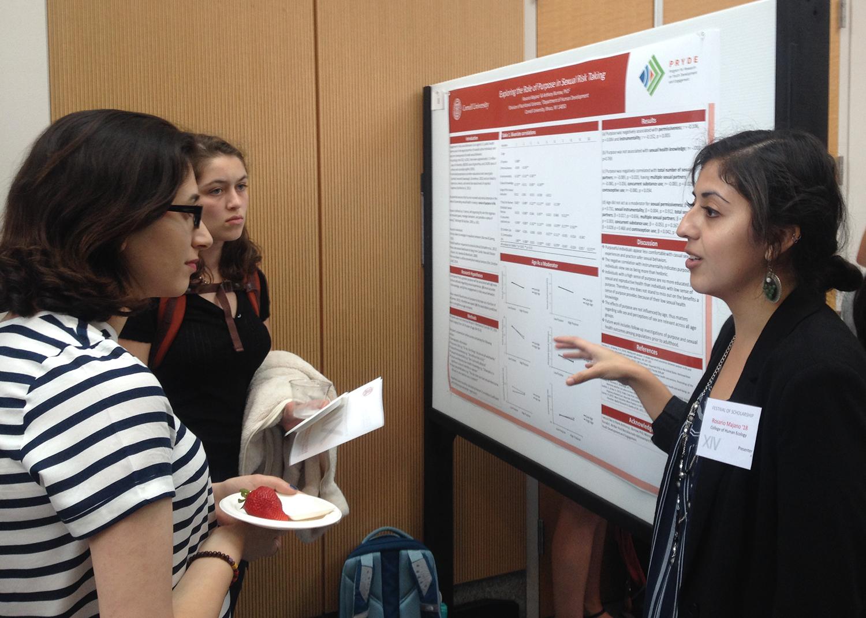 Rosario Majano presenting her work