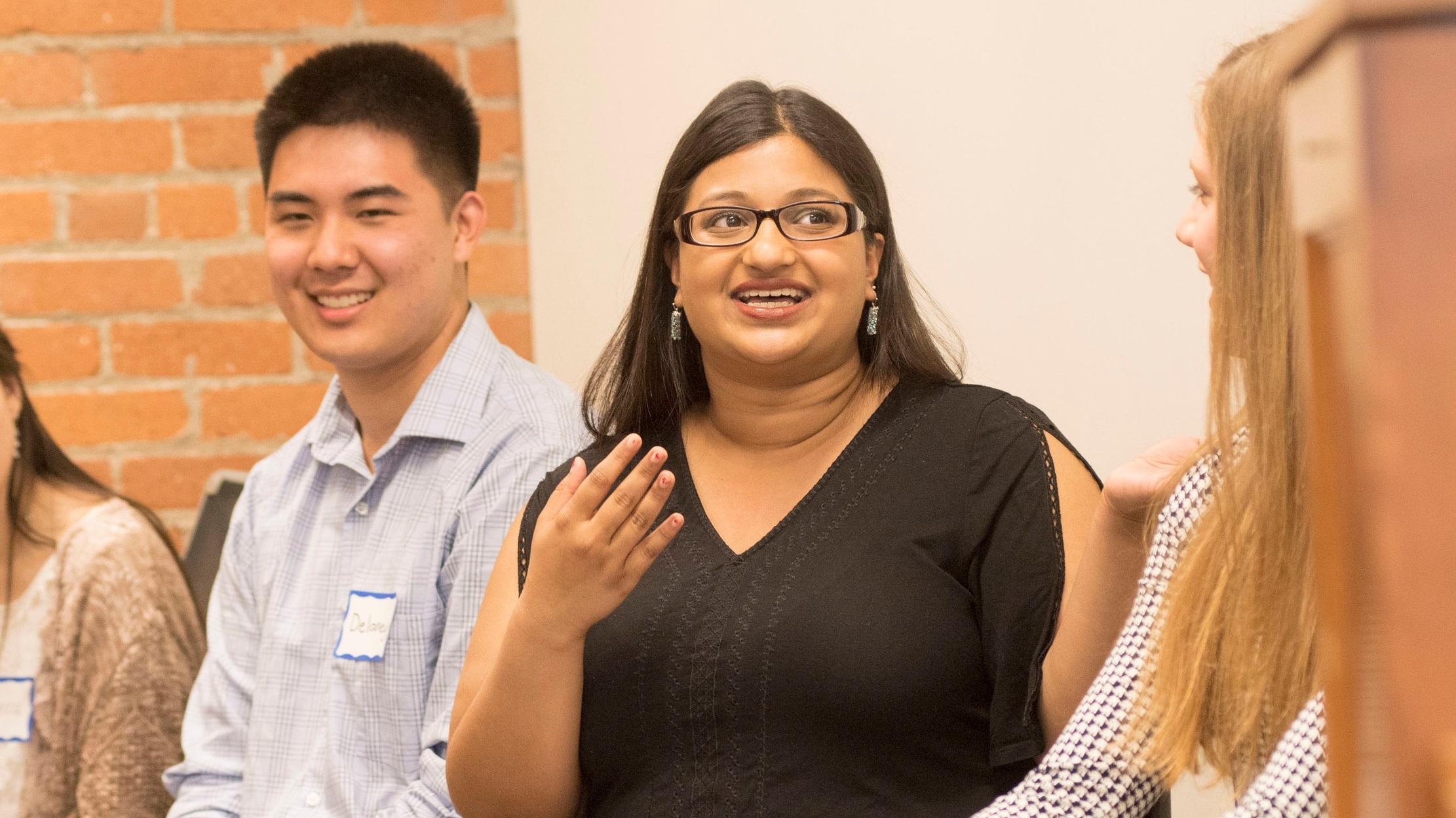 Graduating senior, Elena Gupta, shares her PRYDE Scholar experience with the new student cohort.