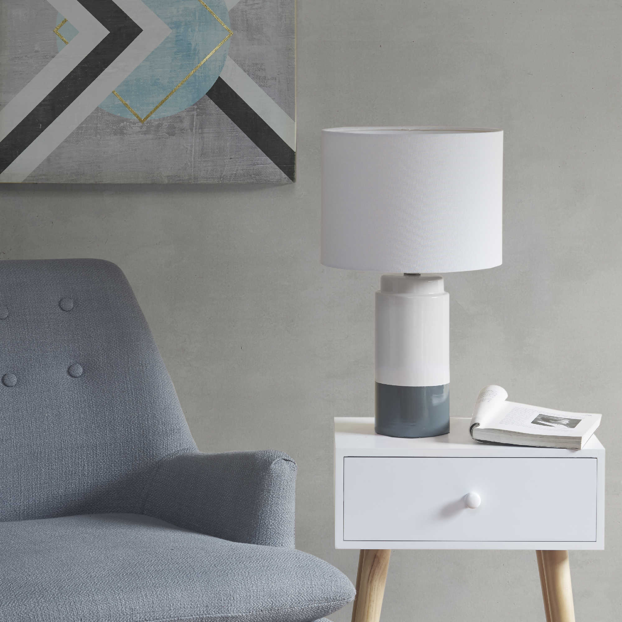 Blue + Gray Table Lamp - I love this two-toned lamp! It's big and beefy, which is also a plus in my book. If you want to snag it, you can get it HERE.