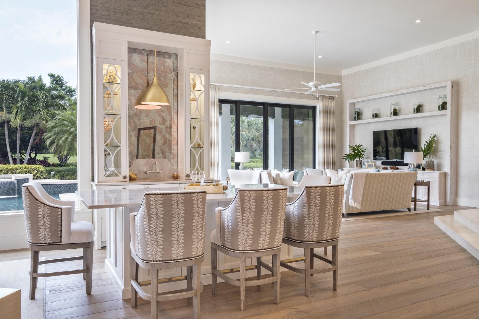 Jupiter Hills Bar TV Living Room Florida Stephanie Rae Interiors Design