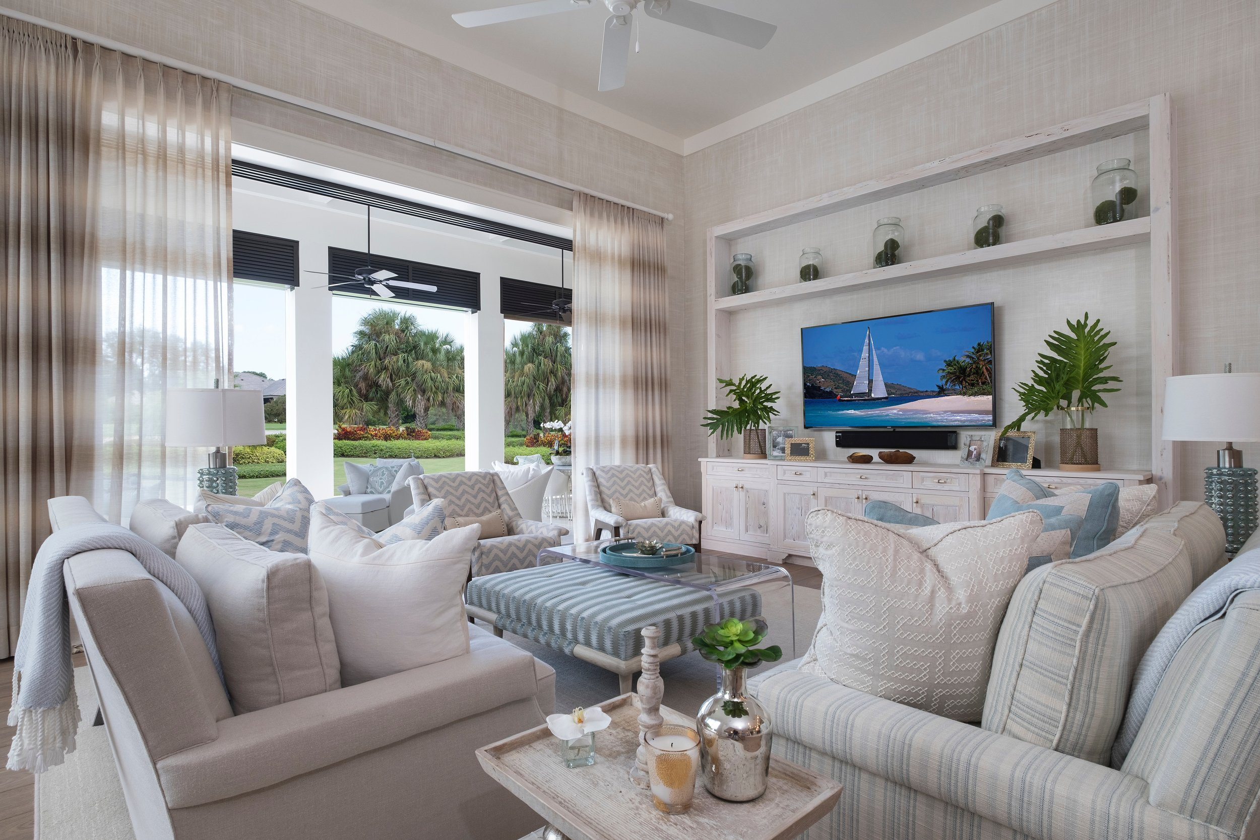 Jupiter Hills TV Living Room Loggia Florida Stephanie Rae Interiors Design