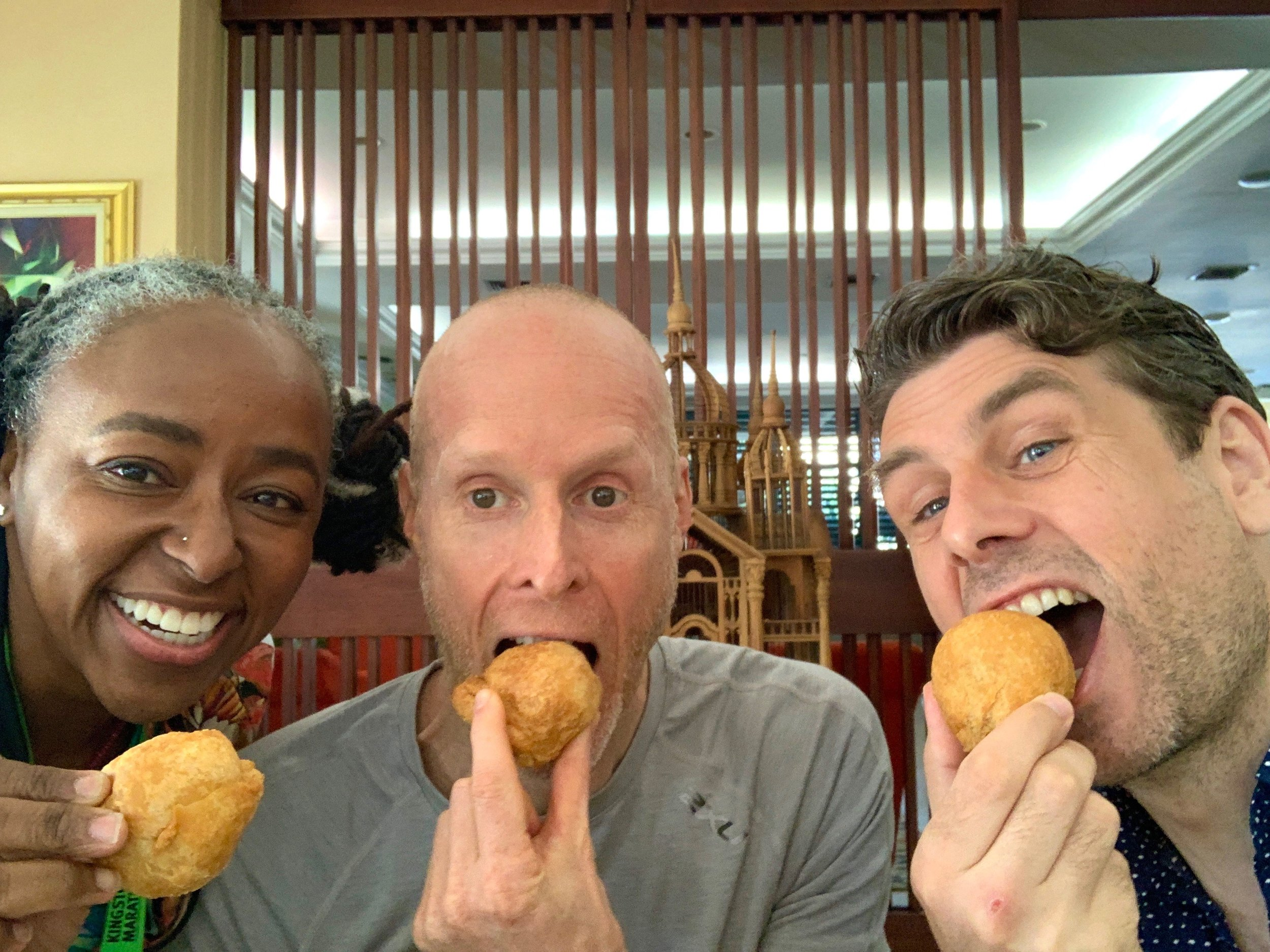Post-race refueling with fried dumplings (yum!) and my fellow runners Matt and Adharanand.