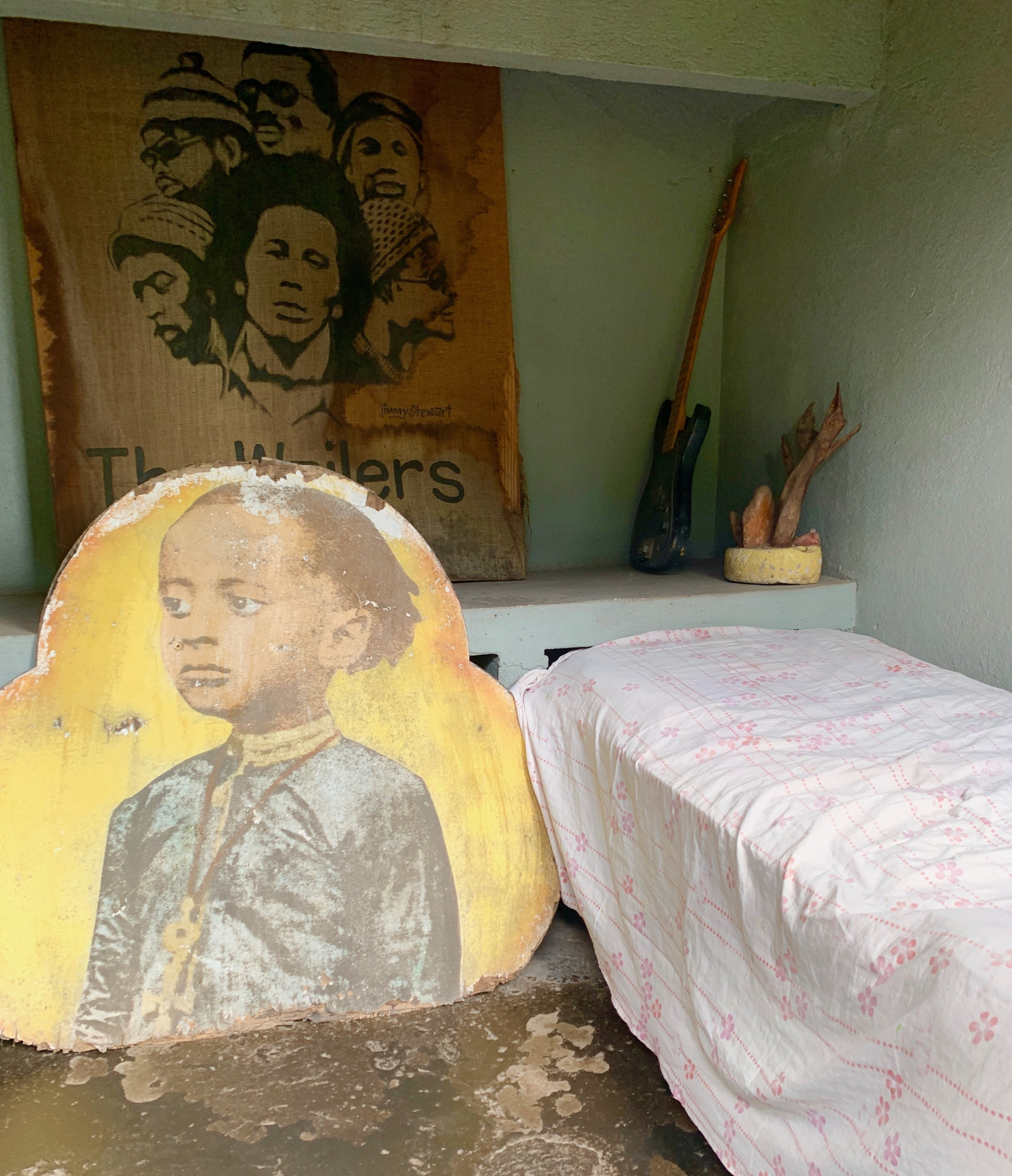 "Remember how Bob Marley sings ""Cold ground was my bed last night"" in Talkin' Blues? This was his room in the yard at Trench Yown, with the twin bed where his wife, Rita, and their child slept  – and the ""cold ground"" that doubled as his bed."