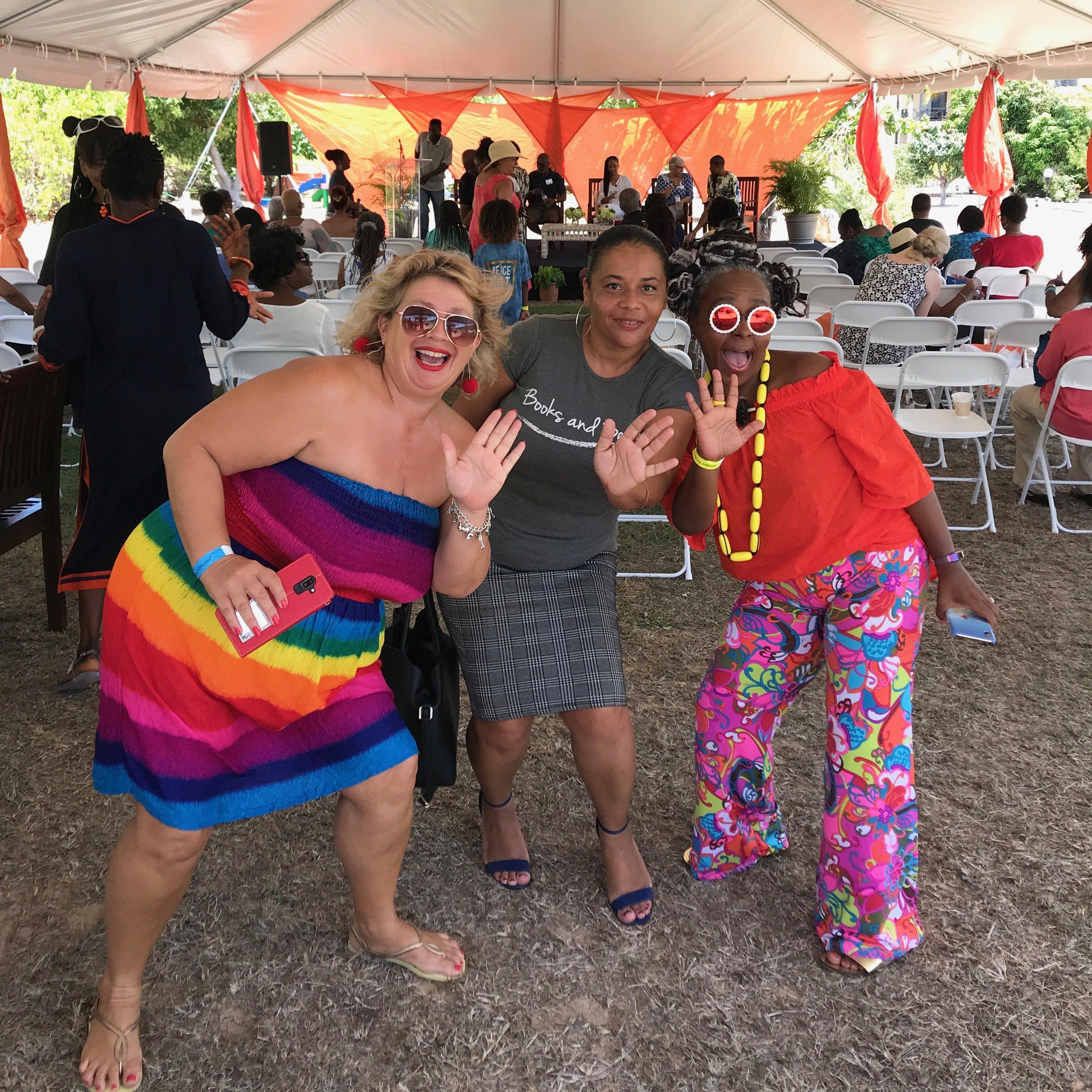 Lit Fest coordinator  Trudy Nixon  (L) and poet Fiona Wilkinson