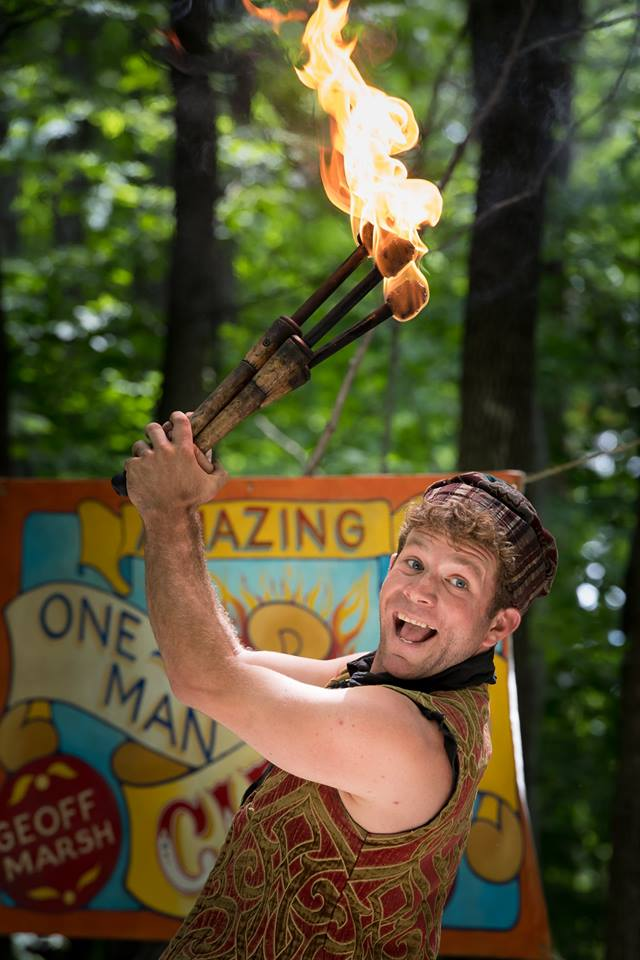 Fire juggling at the Door County Renaissance Faire