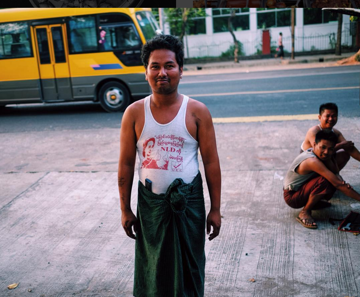 Proudly wearing a NLD tank printed with Aung San Suu Kyi's face in Yangon months after Myanmar's first democratic election in 2015