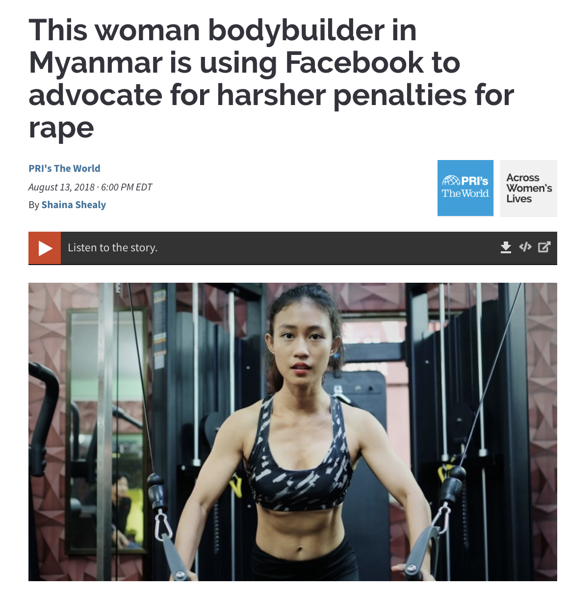 This woman bodybuilder in Myanmar is using Facebook to advocate for harsher death penalties for rape