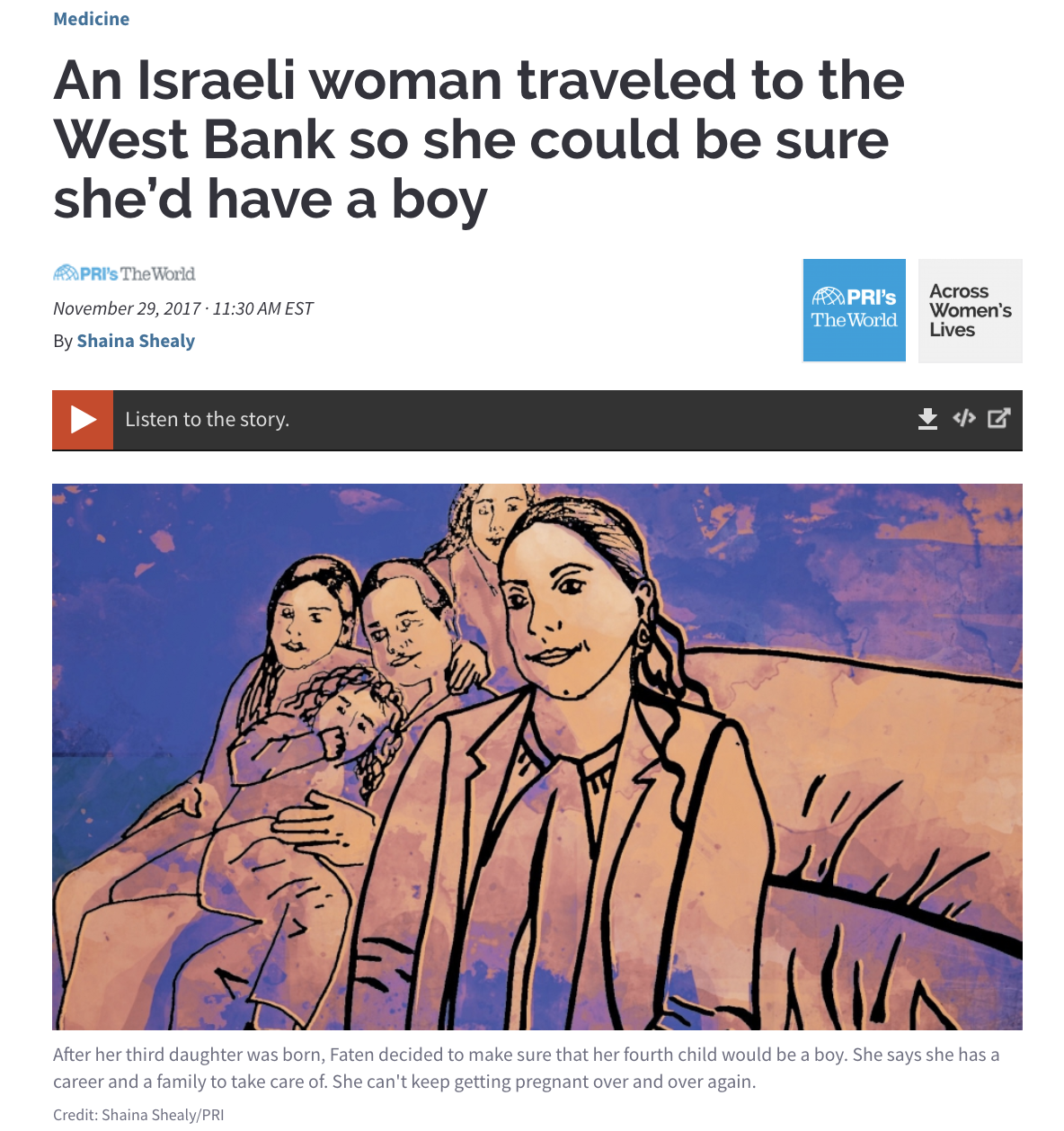 An Israeli woman traveled to the West Bank so she could be sure she'd have a boy