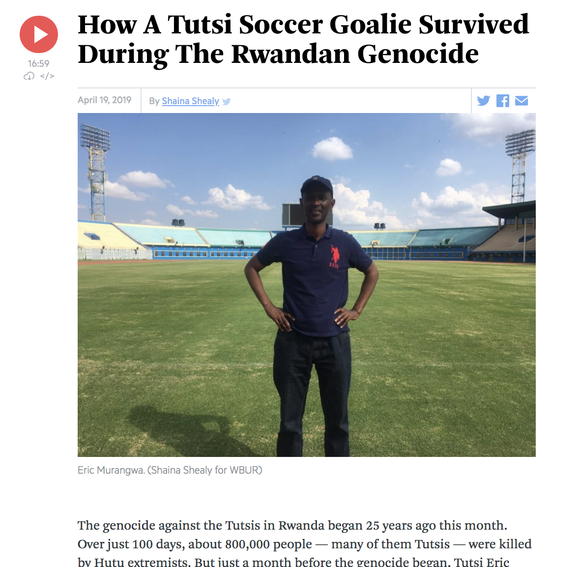 How a Tutsi soccer goalie survived during the Rwandan genocide