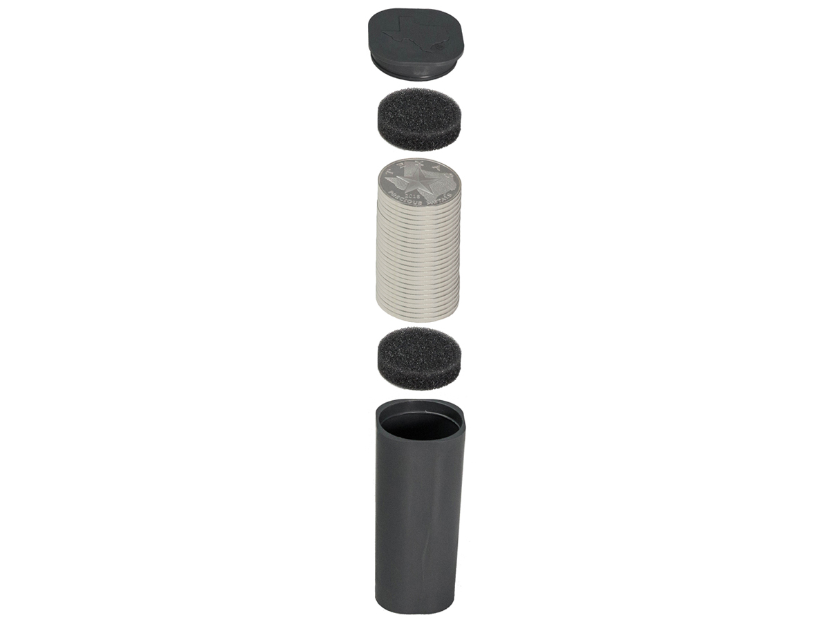 Texas Silver Round Coin Tube - Exploded View