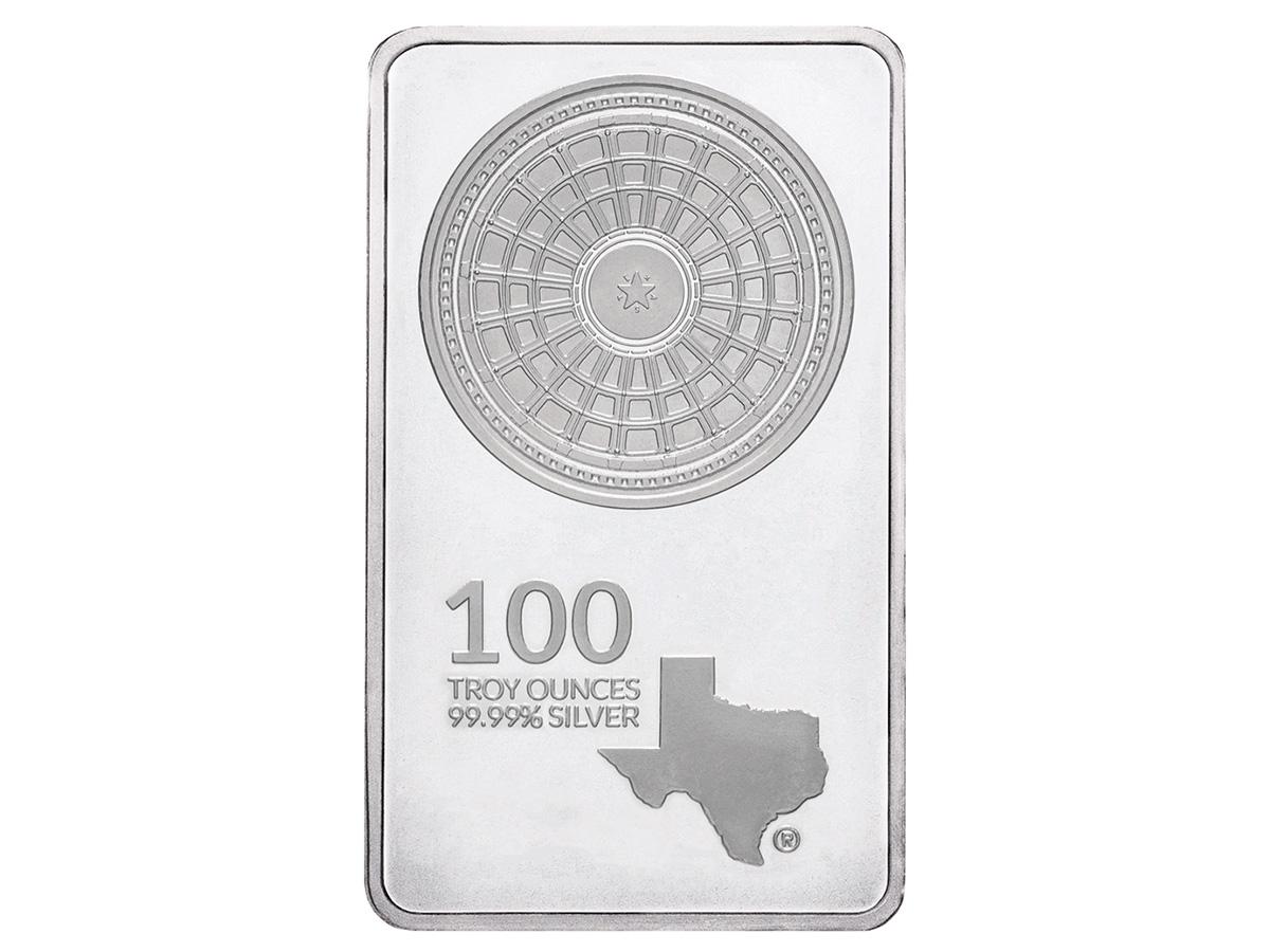100 oz Silver Bar Front