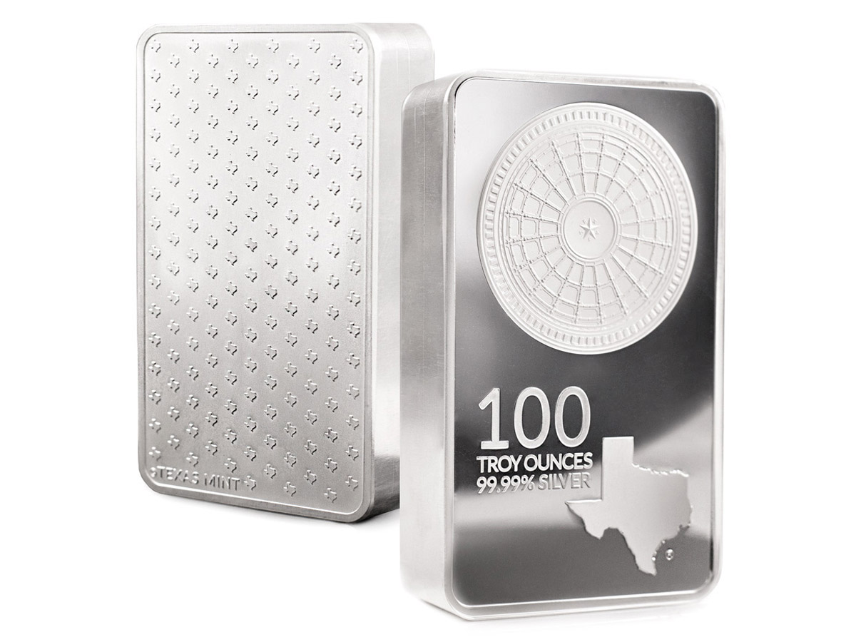 100 oz Silver Bar Front and Back