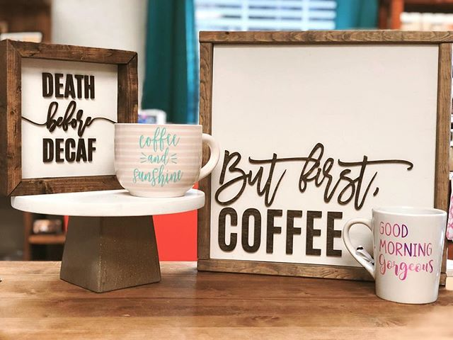 Our coffee themed signs are now available in the shop, and at @wintergardencollective
