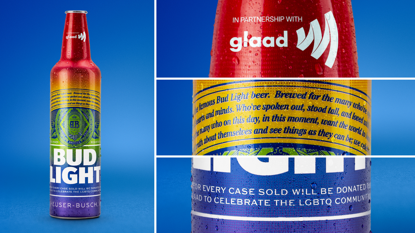 """BUD LIGHT - """"Bud Light will donate $1 to GLAAD, up to $150,000."""" READ MORE🌈 DRINK AT TROUPE429 ✅"""