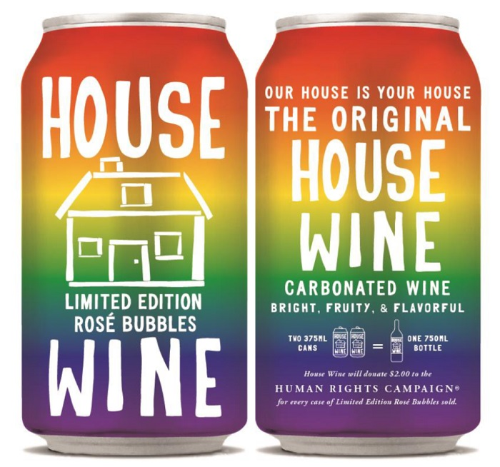 """HOUSE WINE ROSE BUBBLES - """"Benefiting the Human Rights Campaign…donating $2 per case of special cans sold."""" READ MORE🌈 DRINK AT TROUPE429 ✅"""