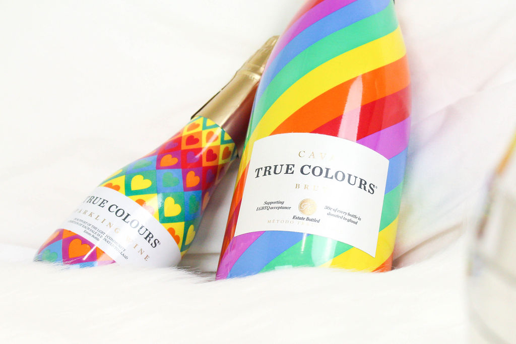 """TRUE COLOURS CAVA - """"For every bottle sold in the United States a donation of $.50 cents per bottle will be given to GLAAD."""" READ MORE🌈 DRINK AT TROUPE429 ✅"""