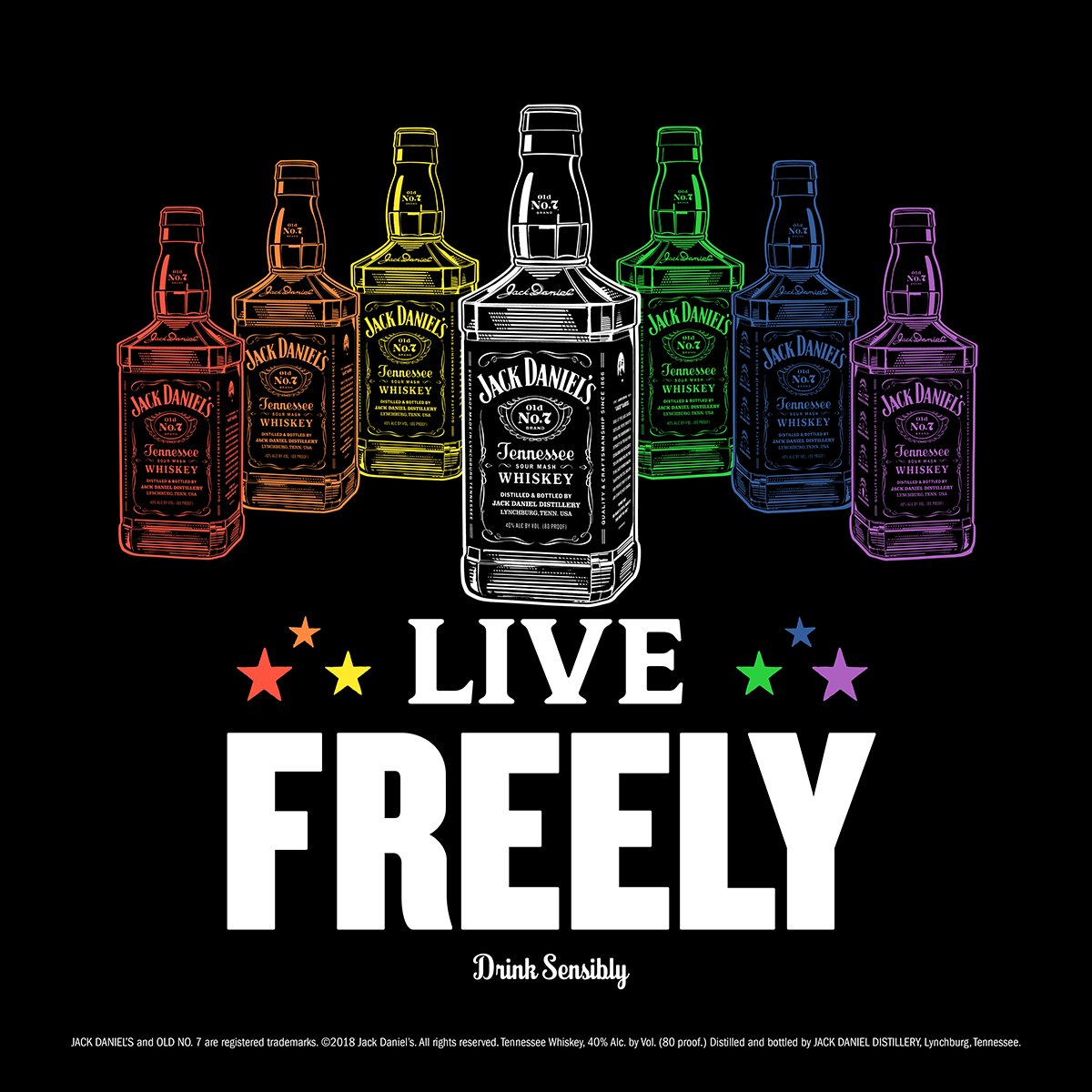 """JACK DANIELS - """"Brown-Forman, the company that distributes Jack Daniels, Jack Honey, & Jack Fire is proud to have the """"Live Freely"""" campaign supporting the LGBTQ community. The company also received a perfect score of 100% on the 2018 Corporate Equality Index."""" READ MORE🌈 DRINK AT TROUPE429 ✅"""