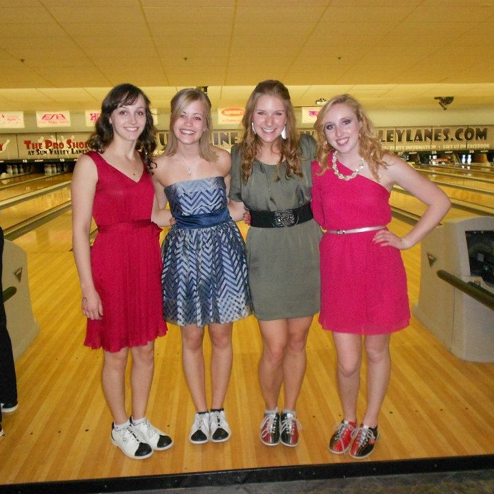 We decided to go bowling after formal. Oddly, the out-of-my-comfort-zone part was the actually going to formal - not the bowling-in-my-dress part.