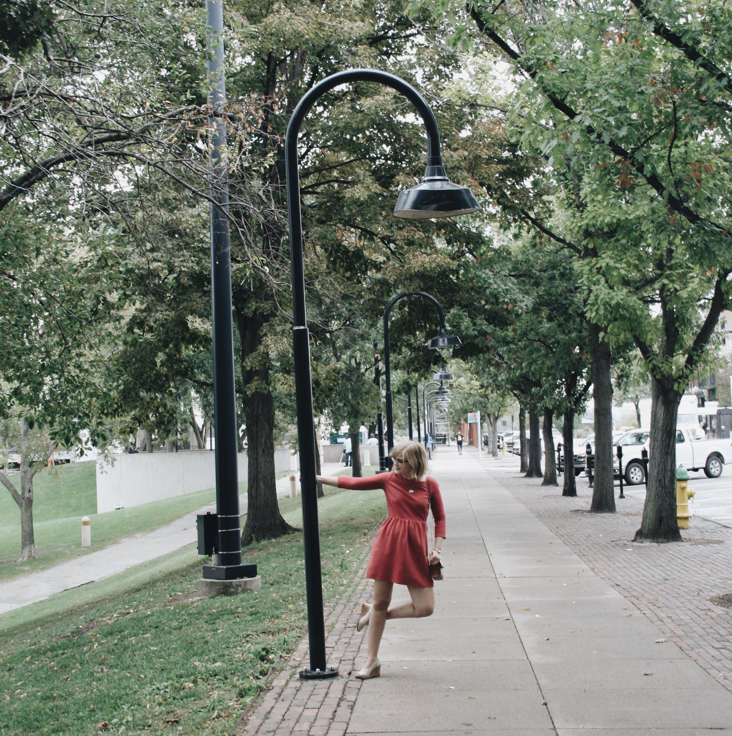 See lightpost, try to replicate Gene Kelly in Singin' in the Rain