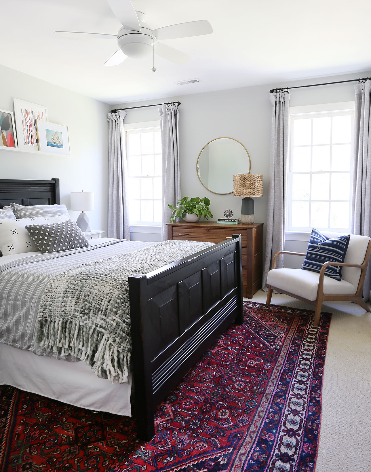bedding   /   throw   /   lumbar pillow   /   curtain panels   /   mirror   /   chair   /   table lamp base   /   lamp shade   /   blue striped pillow