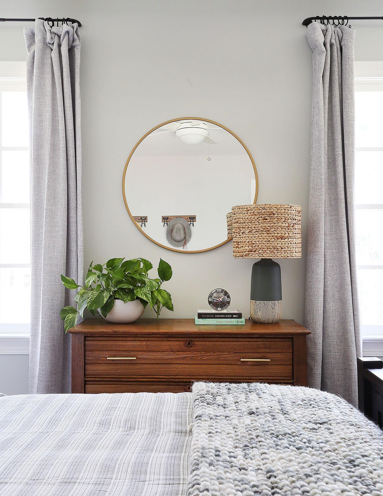mirror   /   curtain panels   /   drapery rod   /   planter   /   lamp base   /   lamp shade   /   brass pulls   /   throw