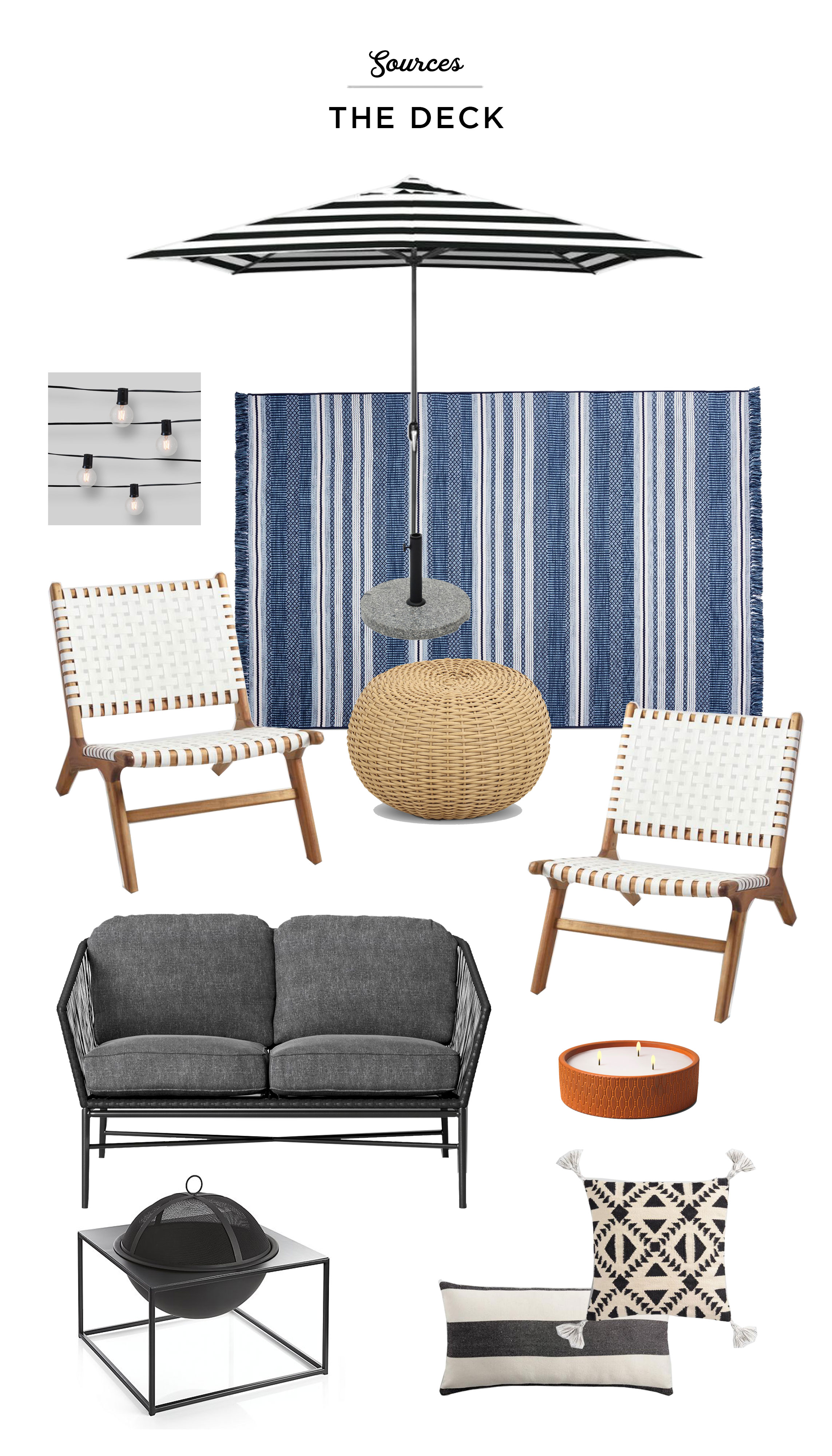 UMBRELLA  |  UMBRELLA BASE  |  CAFE LIGHTS  |  RUG  |  OTTOMAN  |  CHAIRS  |  LOVE SEAT  |  CANDLE  |  GEO PILLOW  |  BLACK AND WHITE STRIPED PILLOW  |  FIREPIT
