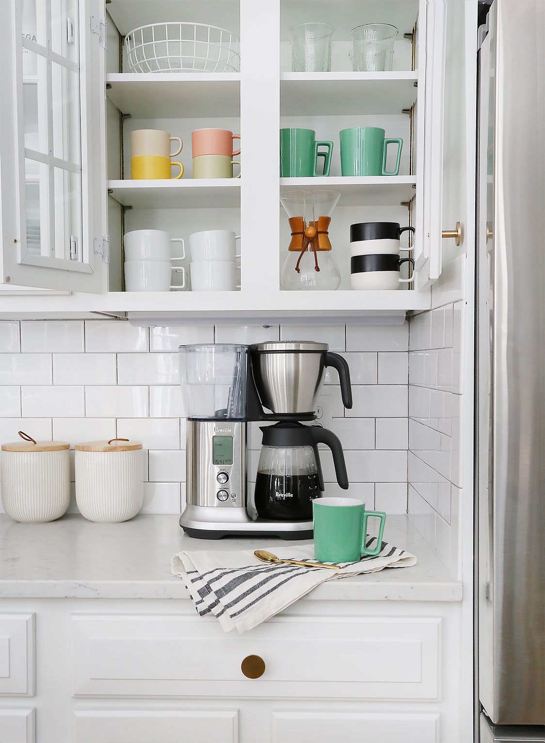Canisters   /   Coffee Maker   /   Black & White Mugs   /   Brass Pulls