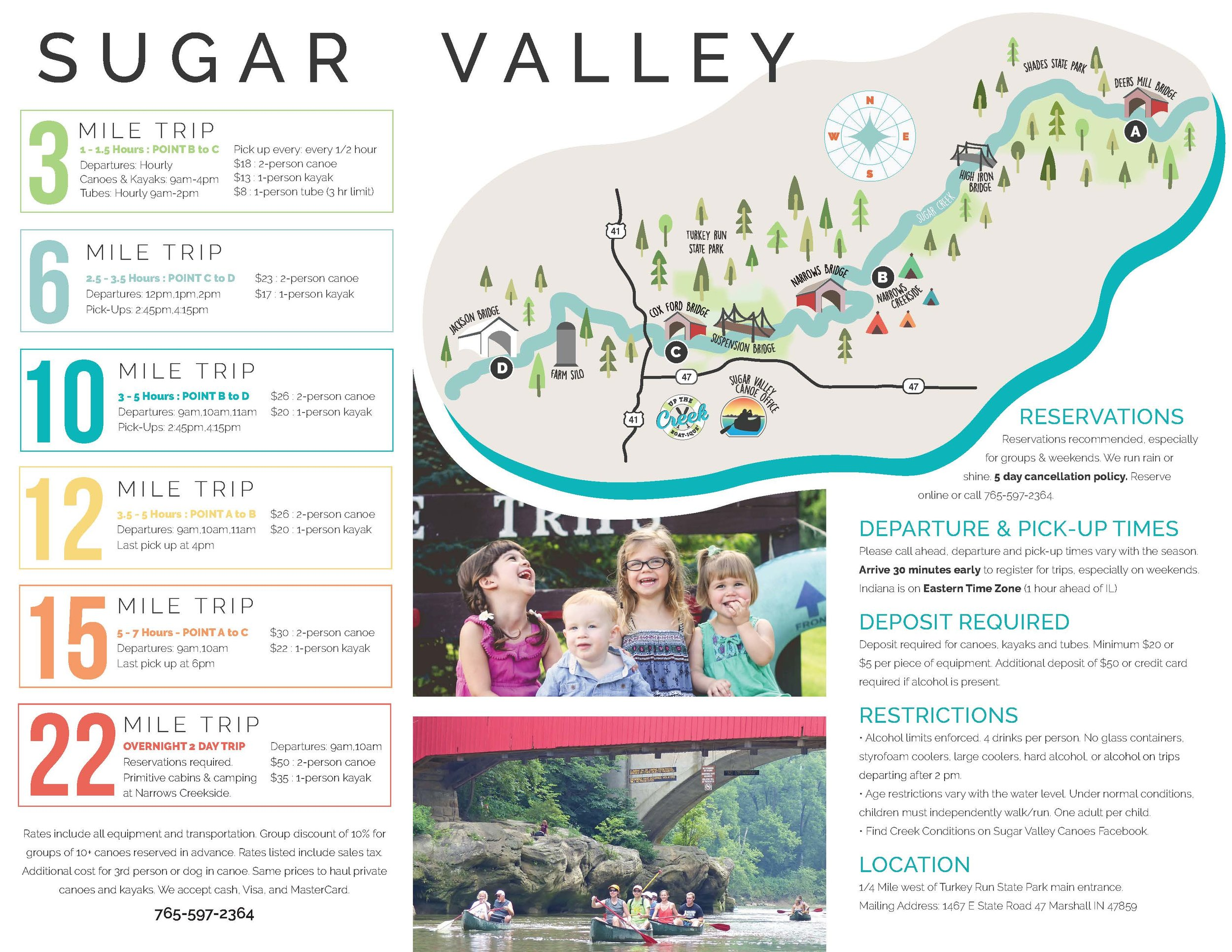 Trifold Brochure Sugary Valley Canoeing