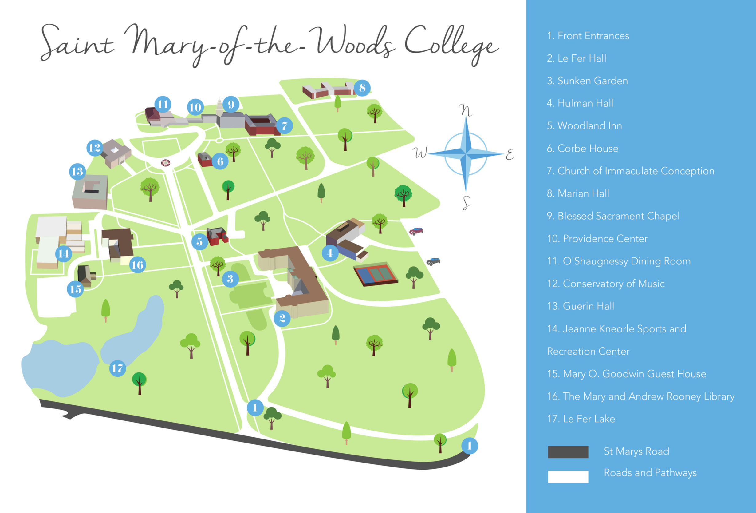 Map Illustration Saint Mary of the Woods College